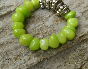 Lime Green Glass Beaded Bracelet Set on Stretchy Cord with Metal Accents