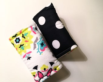 Car seat strap cover - Polka Dots - neon pink and green - Car seat accessories
