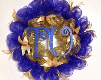 TU Blue and Gold Deco Mesh Wreath/University of Tulsa