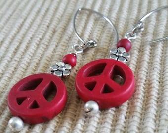 Red Peace n Flower Earrings