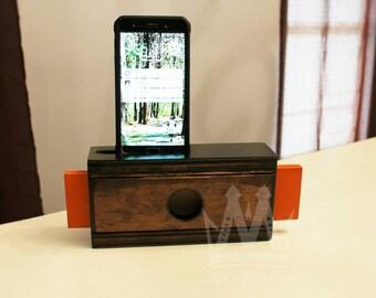 Cell phone speaker, Wooden cell phone speaker, phone amplifier, cell phone amplifier, wood phone speaker, Samsung note 5 speaker