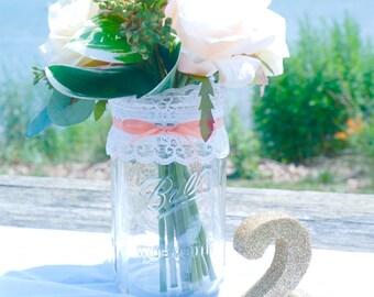 3 - 32oz (Qt) PEACH Lace Mason Jars