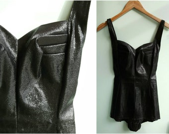 Vintage 1950s Black Lurex Bathing Suit | Size Small