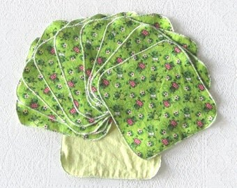 Flannel Cloth Wipes Set of 10 Frog Wash Cloths Re-usable Wipes Kids Napkins Shower Gift