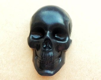 Black skull soap, gothic soap, goth gift, gothic lolita, gothic present, skeleton soap, coffee scented soap, clear soap, gothic cosmetics