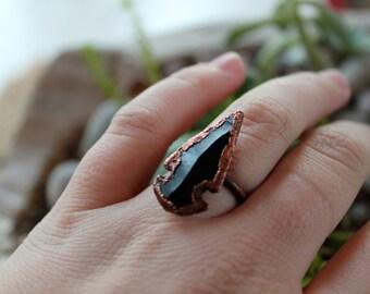 Electroformed Obsidian Arrowhead Ring- Arrowhead Ring- Copper Ring