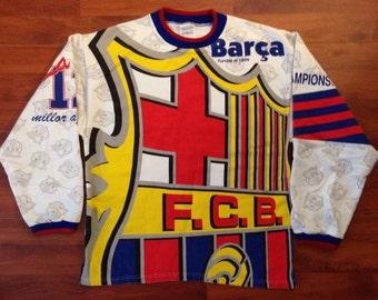 Funky 90's Barcelona Sweatshirt - Lightweight - 90's - Barca F.C.B.