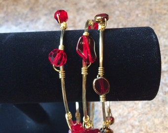 Set of 3 Red and Gold Bangles