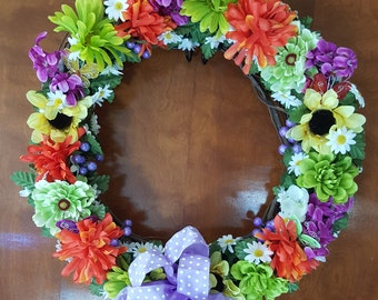 16 inch grapevine wreath with silk flowers