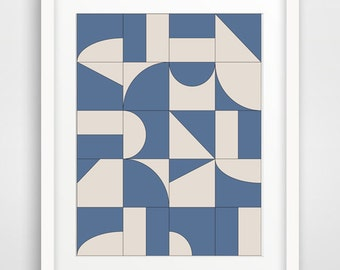 Blue and White Art,Blue Wall Decor,Abstract Wall Art,Modern Art Large,Baby Boy Art,Puzzle Art,Blue and White Print,Printable,Poster Download