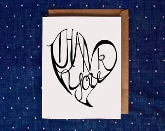 Thank You Card, Thanks, Handmade Thank You Card, Heart Thank You Card, Thank You Note, Thank You Notes, Thanks