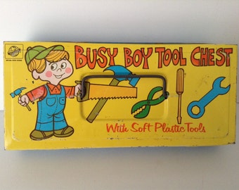 Vintage Busy Boy Tool Chest and Tools by Ohio Art