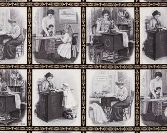 Sewing With Singer Fabric Panel Blocks Grey Singer Sewing Machines Robert Kaufman Metallic Cotton BTY