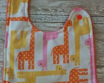 Giraffe Baby Bib- Animal Baby Bib, Personalized Baby Bib, Monogram Bib, Minky Baby Bib, Baby Girl or Baby Boy Bib, Pink, Yellow, Orange