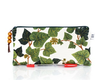 Ivy pencil case, Botanical zip pouch, Hedera, Teacher gift, Make Up bag, Green white, Small bag, Gadget pouch, Nature Leafs, Cosmetic case