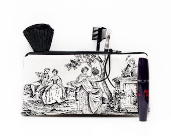 Toile de jouy, pencil case, French zipper pouch, Toile pouch, Black white, School supplies, Lined, Gadget pouch, Make Up bag, Cosmetic case