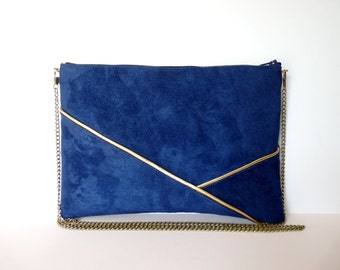Pouch, shoulder bag dark blue and gold graphics