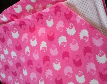 Baby blanket - Pink Hedgehogs and Pink Dots