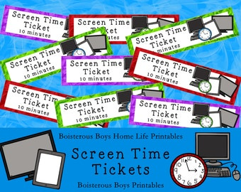 Screen Time Tickets 10 minutes - Computer TV Tablet with Earning Pocket Page