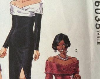 Stunning Off -the- Shoulder Evening Dress Pattern McCalls 6035