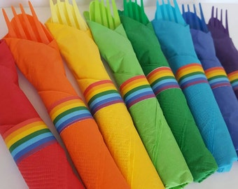 24 Rainbow Themed Wrapped Utensils. Cutlery. Tableware.