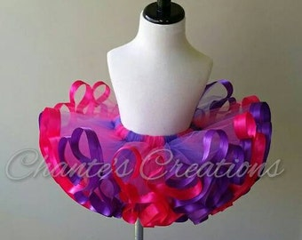 Hot pink and purple ribbon trimmed tutu ONLY