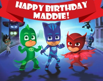 PJ Masks Birthday Banner 13OZ Scrim Vinyl with Grommets  Super High Definition Printing good for outdoor as well