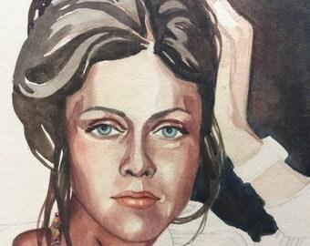 McCleskey Original Watercolor of 70's Female