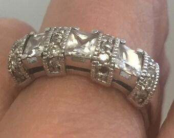 Sharp Vintage Sterling & Crystal Ring