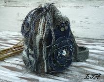Knitted Backpack with Denim Flower, Handmade Backpack, Gypsy Chic, Shabby Chic Market Tote, Hippie, Boho, Mori Girl  Backpack, OOAK