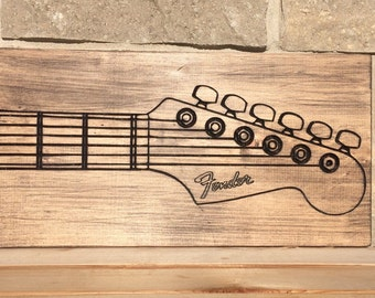 Carved Wood Picture, Fender Guitar, Wood Wall Decor