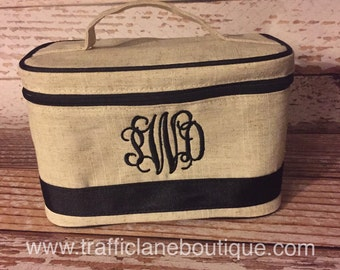Personalized Monogram Train Case, Personalized Monogrammed Makeup Bag, Bridesmaid Gift, Valentine gift for her
