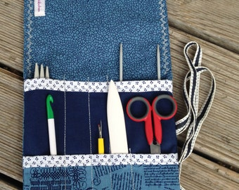 Knitting needle bag- case- -organizer- storage of knitting needles, cables, crochet hooks (for travelling)