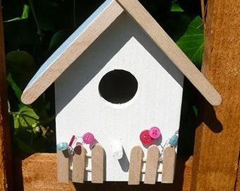 Country Cottage Bird House / Bird Box Handpainted and crafted