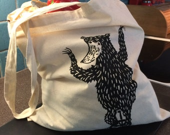 Unicycling Bear Cotton Tote Bag
