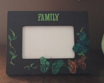 Hand Painted Picture Frame Family Butterflies