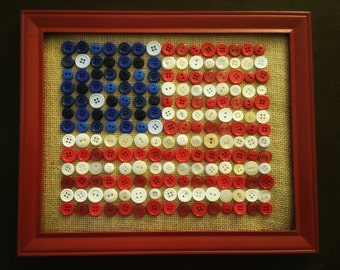 Buttons and burlap American flag.