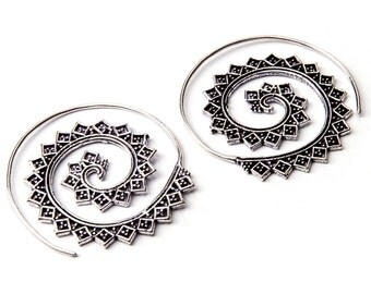 Sterling Silver Spiral Earrings Tribal Squares design, Handmade Tribal Earrings, Indian Jewellery, Gift boxed,Free UK postage