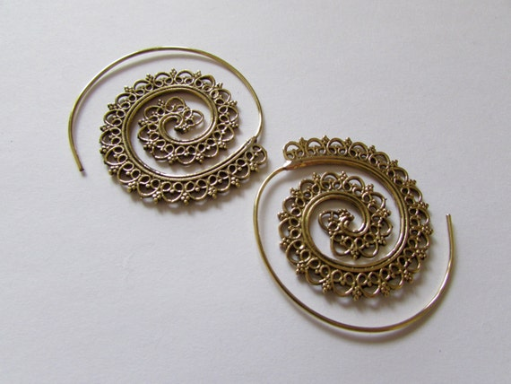 Big Spiral Brass Earrings, floral hearts design handmade, Tribal Earrings, Floral Earrings, Gypsy Jewelry, Gift boxed, Free UK postage BG9