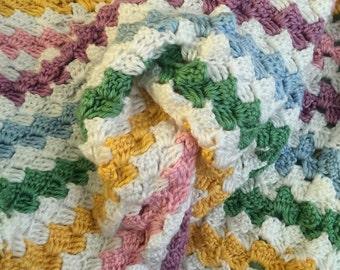 Spring color crochet afgan- king size basket weave stitch