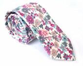 Wedding Ties.Pink Floral Ties. Neckties for Men.Groomsmen Ties.Cotton Ties.Wedding Gifts.Tie Set.