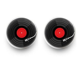 Vinyl Record Earrings Retro Music Earrings DJ Earrings Stud Jewelry (with jewelry box)
