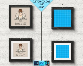 Square Ornate 10x10 Black Matted Unmatted Frame on White Brick Wall, 4 Print Display Mockups, PNG PSD PSE Opening 25x25cm Custom colors