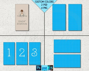 12x24 #W04 Portrait Landscape Set of 2 & 3 Stretched Canvas on White Bricks Wall, 4 Canvas Display Mockup  PNG PSD PSE Custom colors 30x60cm