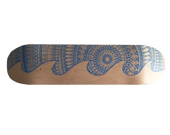 Mandala Wave || Hand Painted Skateboard Deck