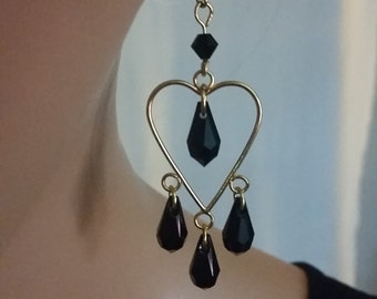 Swarovski Jet Black Crystal Teardrop Earrings  Beaded Earrings Custom Jewelry
