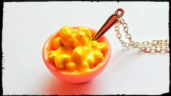 Mac and Cheese Necklace - Miniature Food Jewelry - Gifts for Foodies, Inedible Jewelry, Statement Necklace, Kid's Jewelry, Junk Food Jewelry