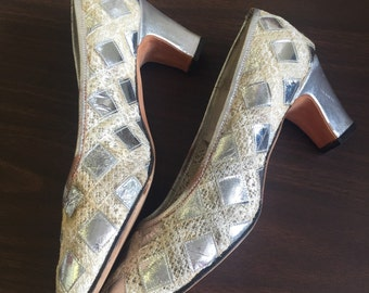 Vintage Jack Rogers silver diamond shoes size 7