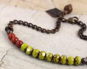 Red jasper bracelet. Czech glass bracelet. Simple clasp bracelet. Chartreuse jewelry. Lime green jewelry. Colorful bracelet. Green bracelet.