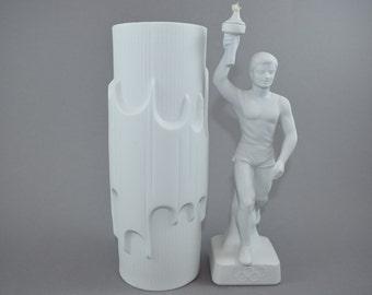 Mid Century Bisque Porcelain White Vase by Scherzer, West Germany, Batman Vase by Werner Uhl